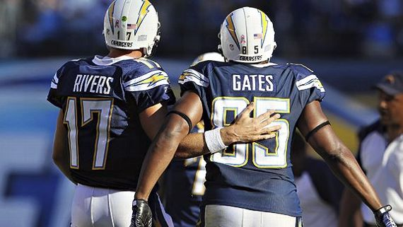 Expect Philip Rivers and Antonio Gates to work hard to send the veteran TE off into the sunset with a milestone (Photo: Jeff Gross/Getty Images).